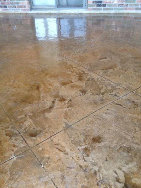 Antiqued Skip Trowel Scored Tile Lafayette La Stained Concrete Concrete Stained Floors Concrete Floors In House