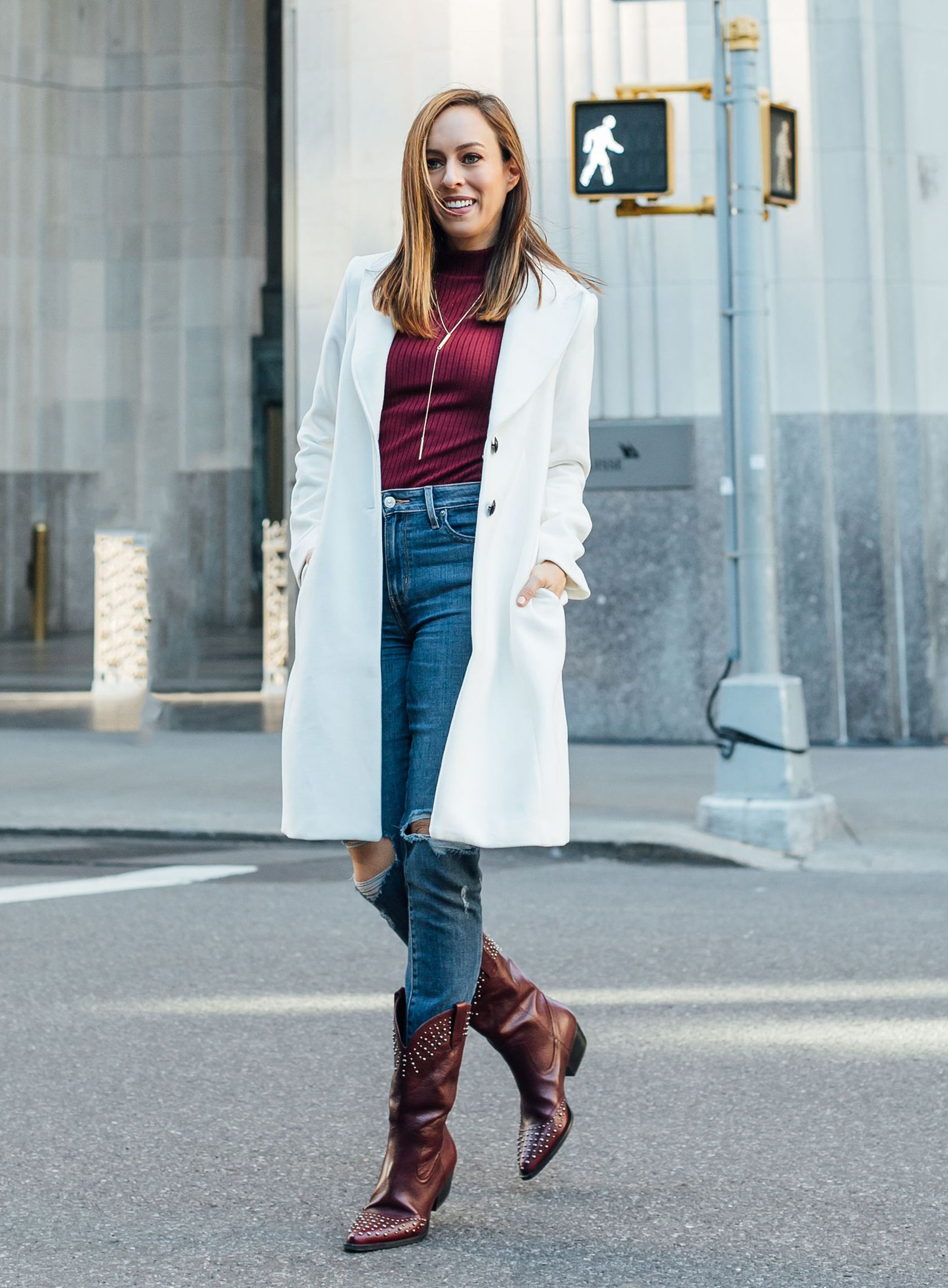 5a54172808e Sydne Style wears white house black market white coat with cowboy boots   coats  jeans  boots  cowboyboots  sydnesummer