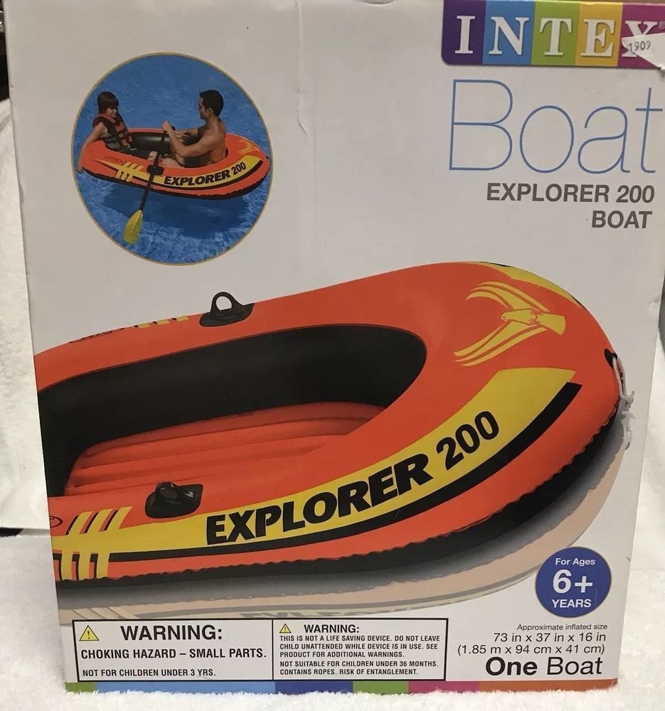 Intex Explorer 200, 2 Person Inflatable Boat Set with French