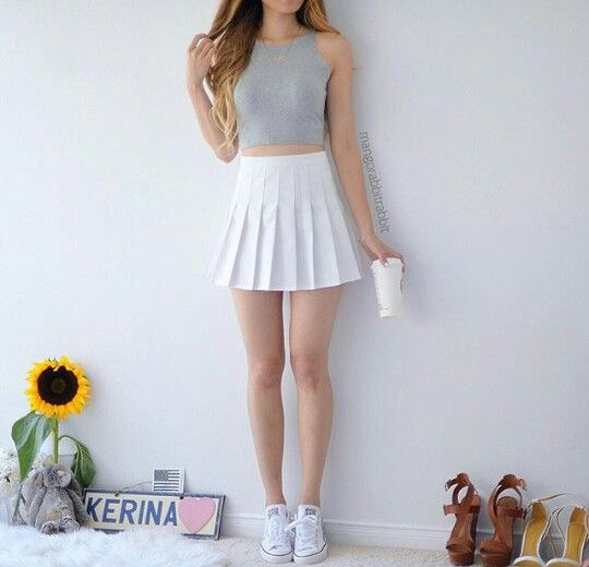 A Grey Sleeveless Crop Top Featuring A White Tennis Skirt And White Low Top Converse Pretty Outfits Pinterest Outfits Fashion Outfits