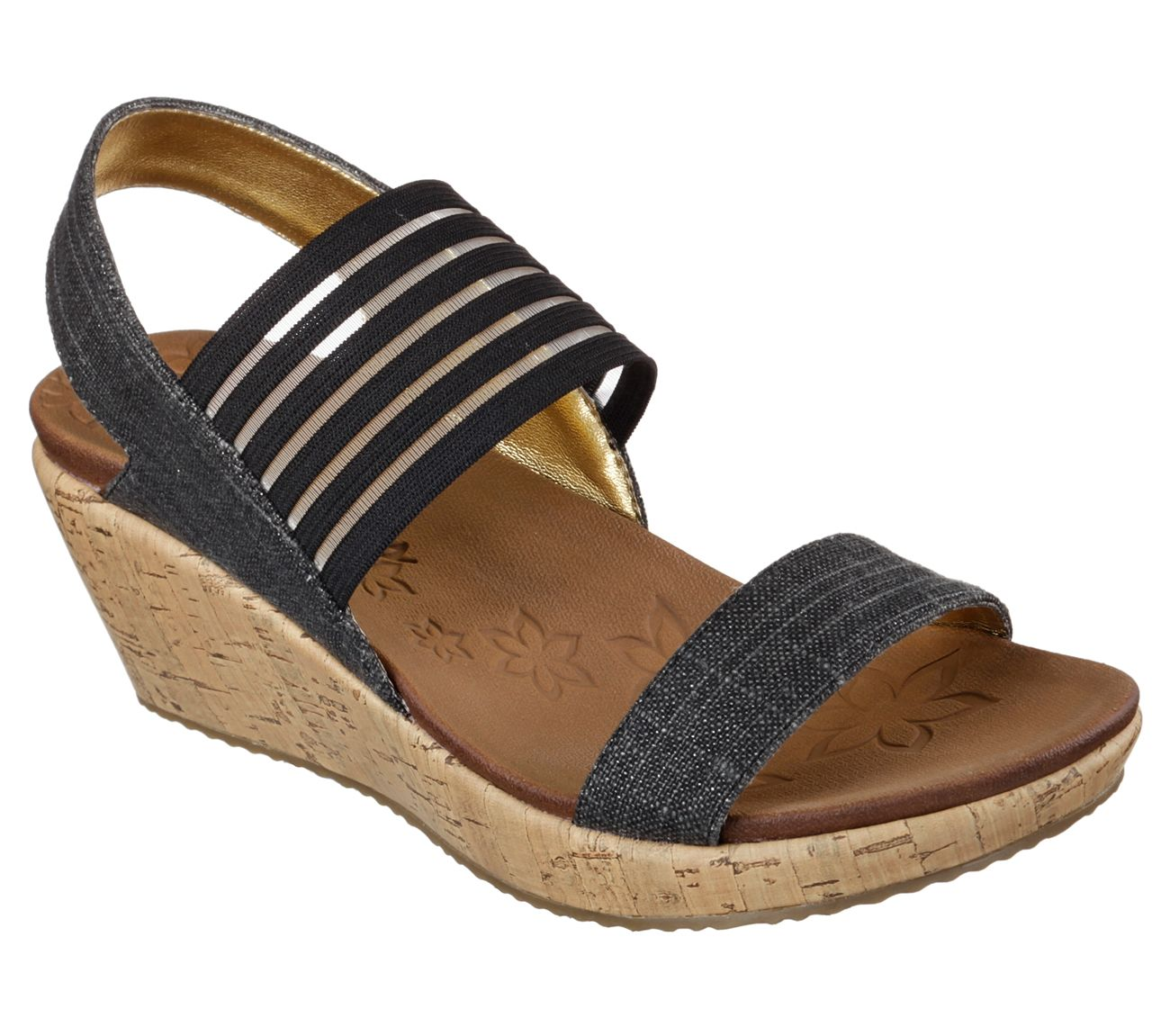 Diversify Your Style With The Skechers Beverlee Smitten Kitten Sandal Soft Sparkle Linen And Stretch Fabr Black Wedge Sandals Skechers Women Skechers Wedges