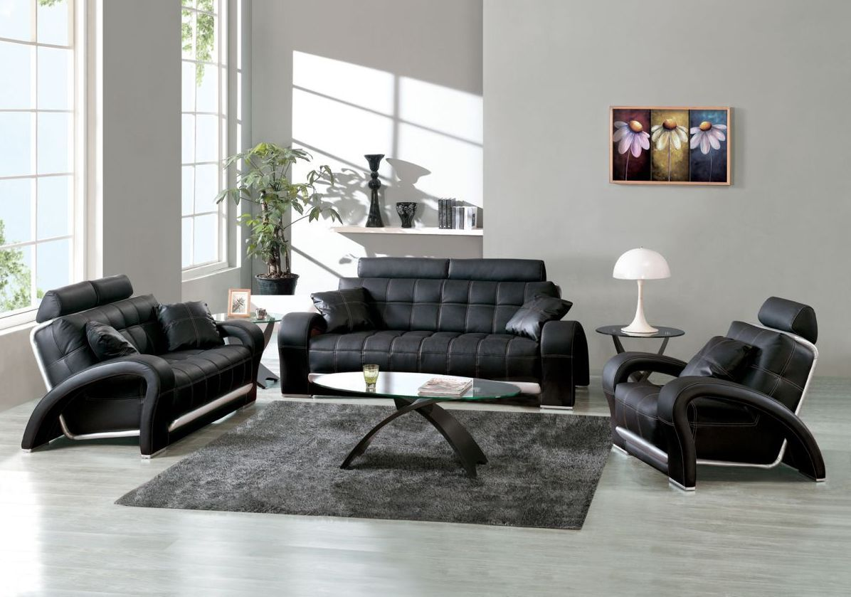 Best living room design ideas with modern black leather - Gray modern living room furniture ...