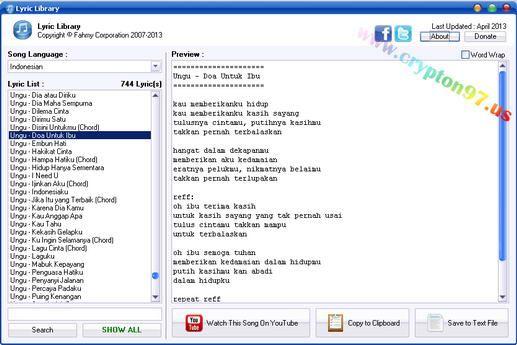 Lyric Library Software Berisikan Kumpulan Lirik Lagu Bahasa Inggris India Indonesia Jepang Korea Lirik Lirik Lagu Lagu