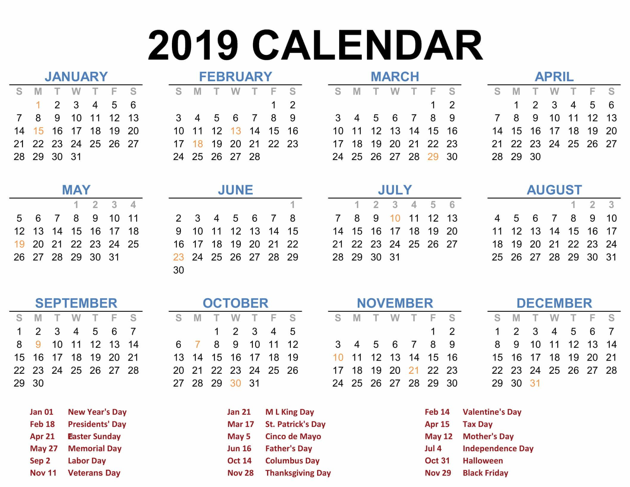 2019 Calendar Template Pdf Word Excel Free Download Printable