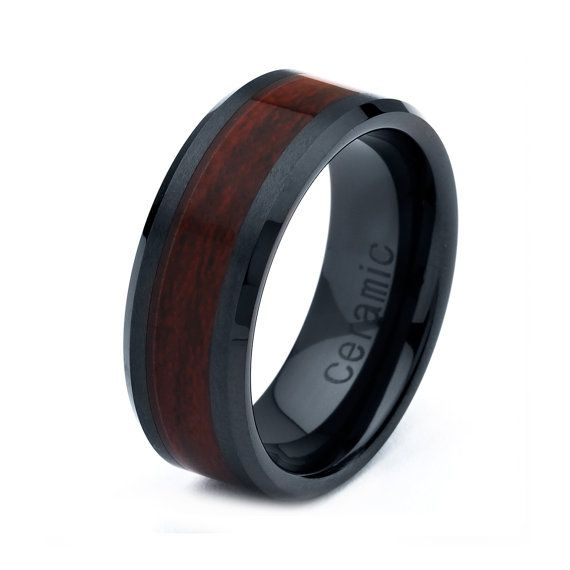 mens womens ceramic wedding band ring 8mm wood inlay black 5 15 half sizes comfort - Ceramic Wedding Rings
