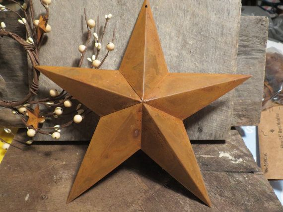 These awesome Stars are perfect for your crafts or just add a country rustic touch to your home. They are rusty metal measure 11 inch across .