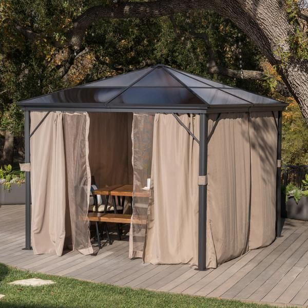 Bali Outdoor 10 X 10 Foot Rust Proof Aluminum Framed Hardtop Gazebo With Curtains Hardtop Gazebo Gazebo Gazebo On Deck