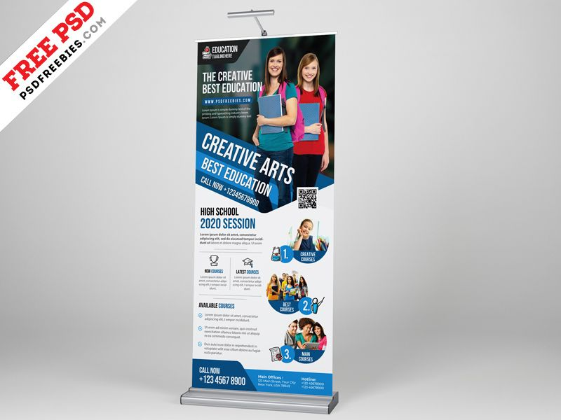 Education Roll Up Banner Psd Template Roll Up Design Psd Templates Banner