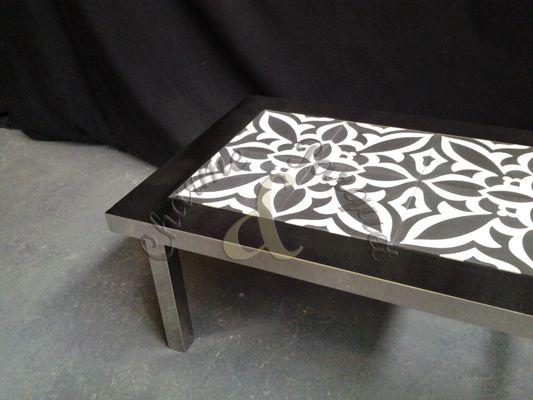 table basse en inox et carreaux de ciment diy tsm pinterest. Black Bedroom Furniture Sets. Home Design Ideas