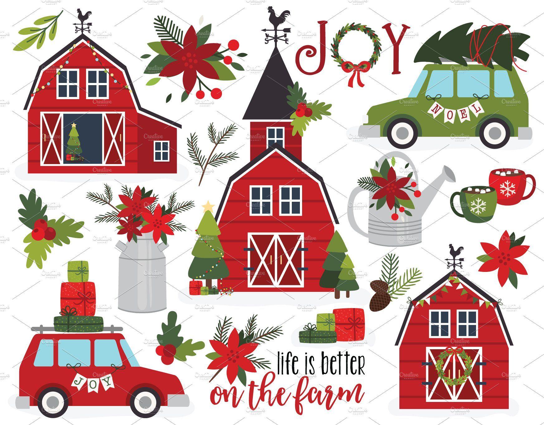 Christmas Farm House Clipart + SVG Christmas farm
