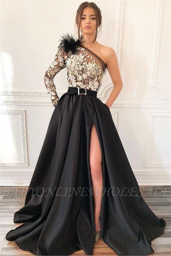Elegante Abendkleider Mit Ärmel | Abendkleid Lang Schwarz Weiß