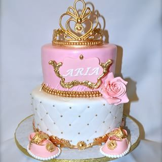 Pink And Gold Birthday Cake Baby Name