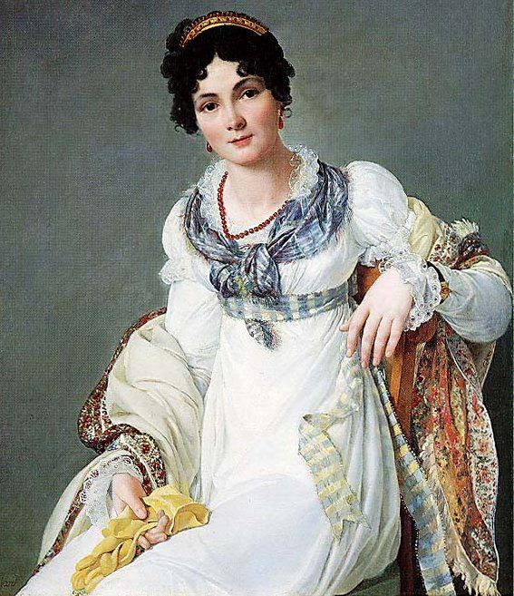 Portrait of a lady wearing a white dress with a paisley shawl and holding a glove, painted by Francois Henri Mulard around 1810.