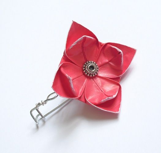 Red origami flower brooch lovely and cute bijoux pinterest red origami flower brooch mightylinksfo