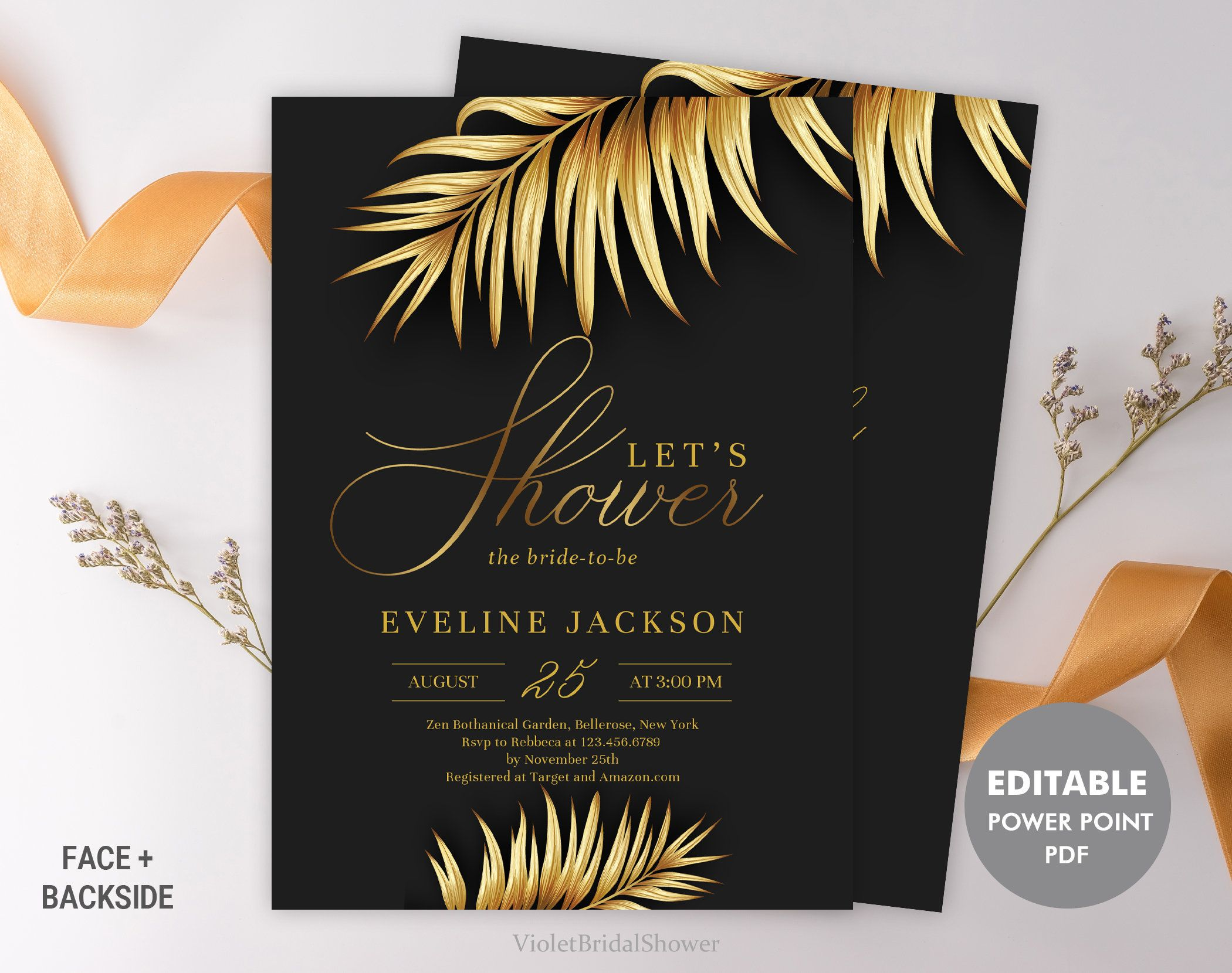 Tropical bridal shower invitation template printable gold