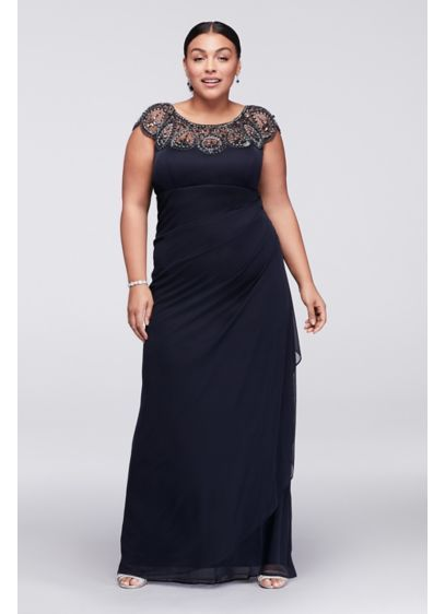 c40f2d3fed29 Cap Sleeve Plus Size Long Dress with Beading XS7761W | Wedding ...