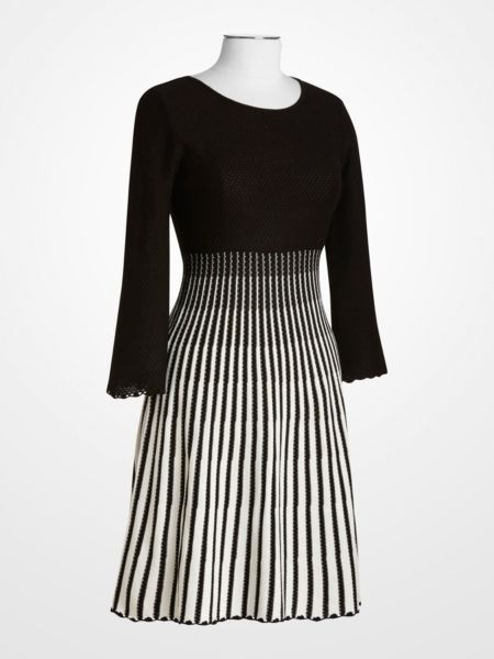 Calvin Klein Black & Ivory Knit Dress $49.99 #blackandwhite #longsleeve #sweater #stripe #fall #womens #fashion #designer #deal