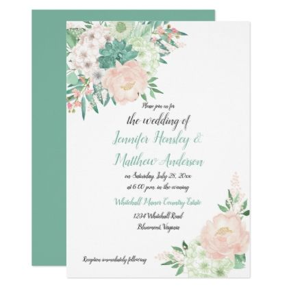 Mint Green And Blush Watercolor Floral Wedding Invitation