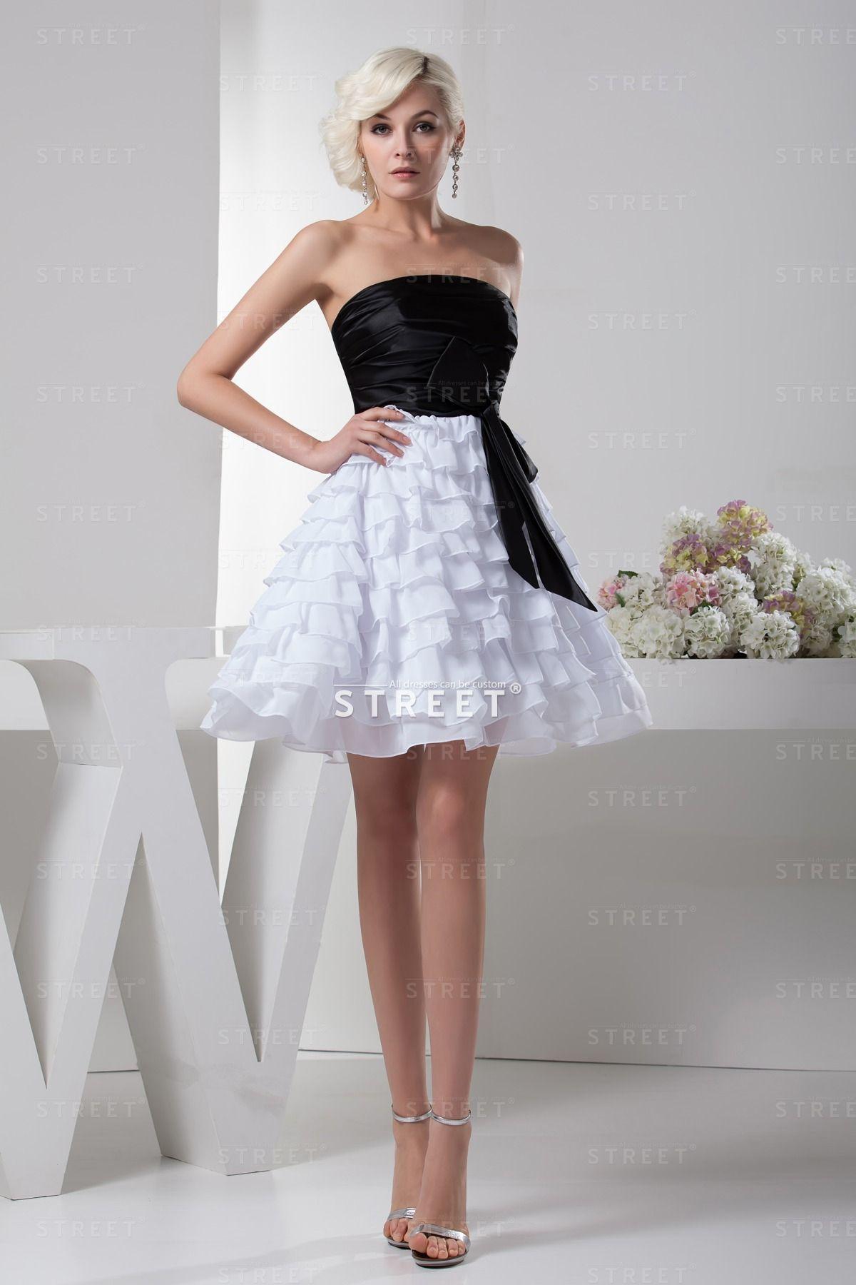 Black And White Chiffon Ruffled Strapless Extravagant Sweet 16 Dress ...