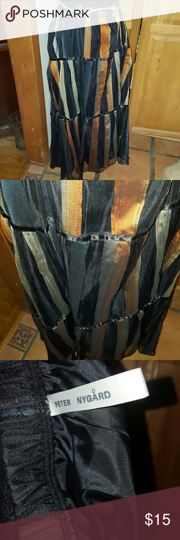 Boon Skirt Multi-colored --- muted browns, greens, silver, black, blue. Polyester. Long skirt. Peter nygard Skirts Maxi