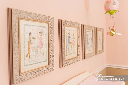 Elegant Pink Parisian Palace Nursery Framed Art Collage Of Boy And Love Story Came From