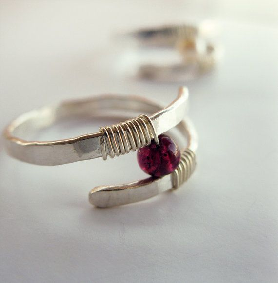 Garnet Ring Hammered Sterling Silver Modern by LiuRokSilver   Rings ...
