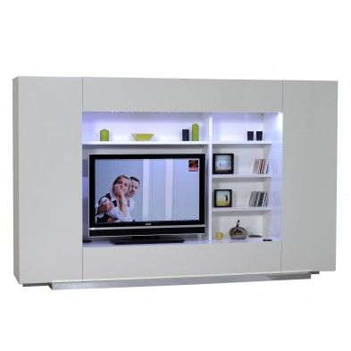 unit mural tv ultra design coloris blanc - Meuble Tv Ultra Design