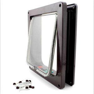 Pet Cat Flap Door 4 Way Lockable Plastic Safe Cat Flap Suitable Door For Any Wall Pet Door Large Cat And Small Dog: …