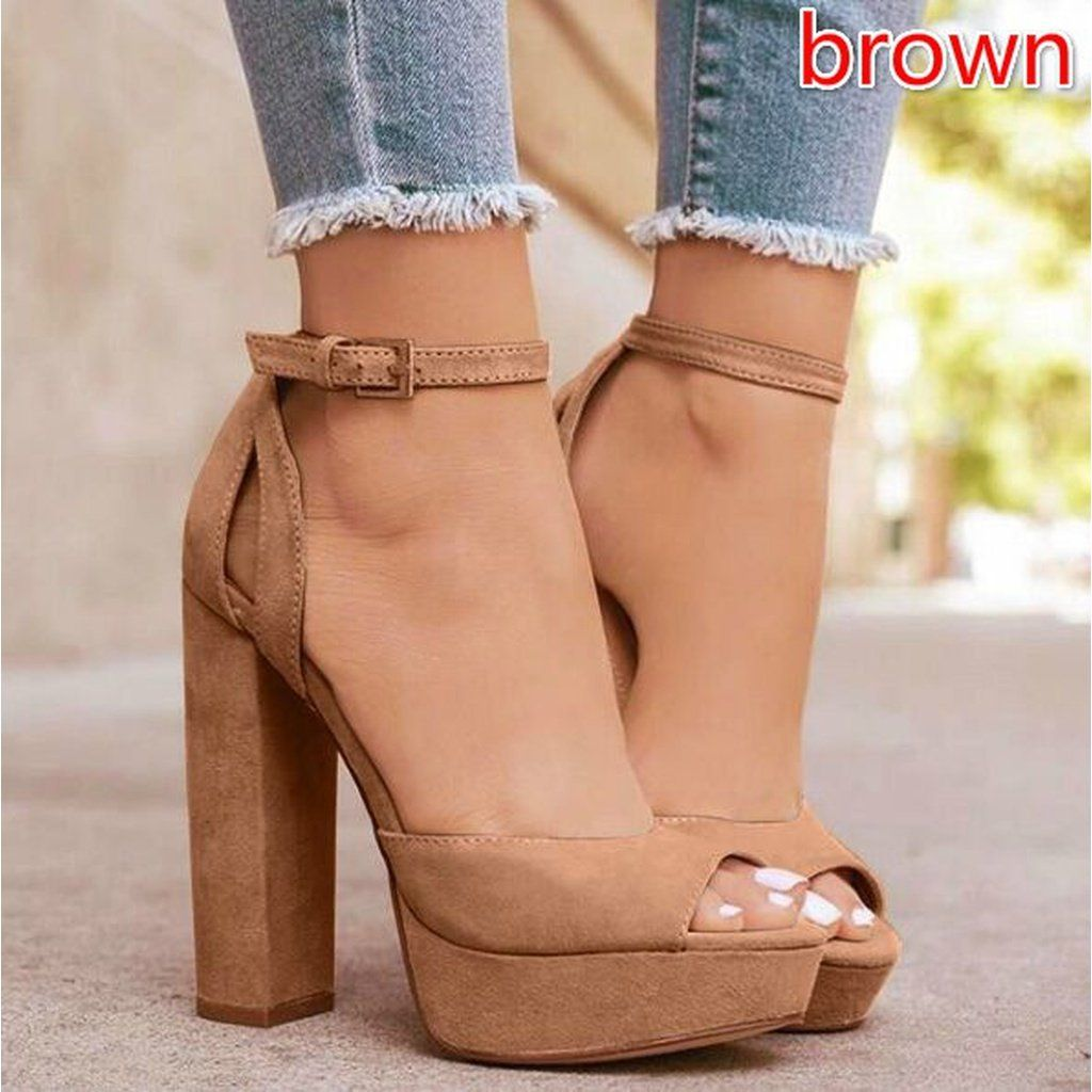 dae9c399fc2a Women Sandals Peep Toe High Thick Heel Shoes Pump Platform Ankle Pumps  Chunky