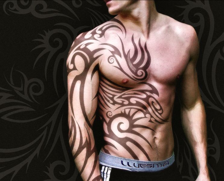 Awesome Upper Stomach Lower Chest Tattoo Tribal Tattoos For Men Tribal Tattoos Body Tattoo Design