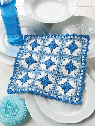 Shades of Blue Dishcloth | Ideas para hacer granny square ...