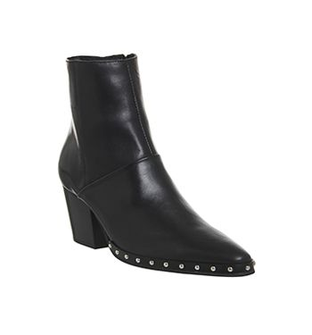 Office Levi Western Boots Black Leather With Studs