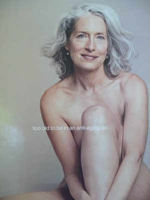 nude Long grey-haired woman