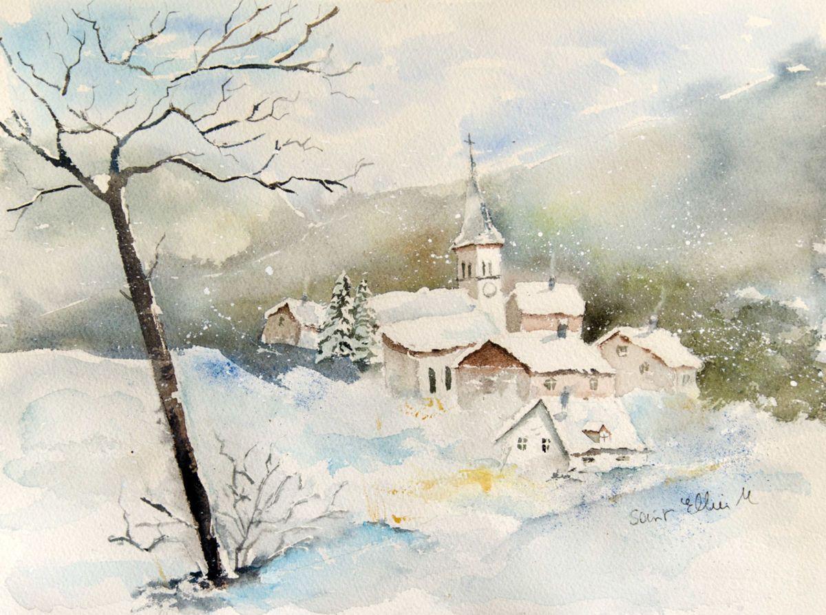 Village Sous La Neige Peinture 38x28 Cm Par Martine Saint