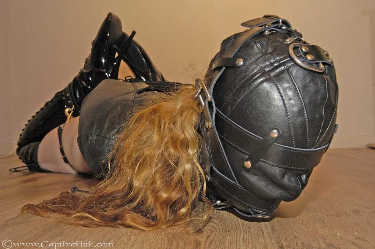 Putmeinherplace: A Very Nice Leather Hood, With An Leather Armbinder And  Ballet Boots.