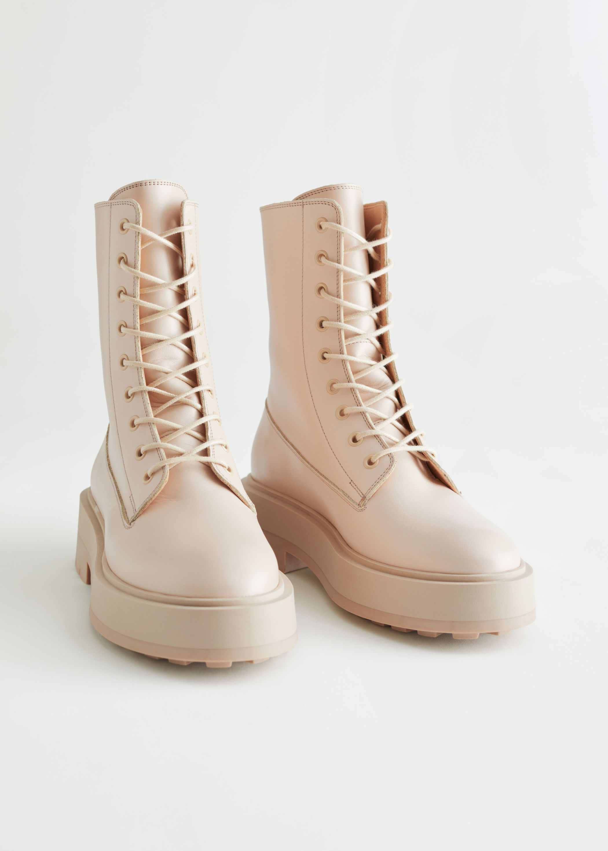 Boots, Beige boots, Chunky boots