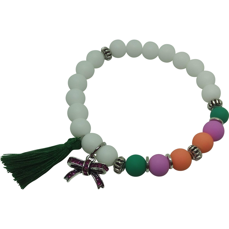 Tassel bracelet white beaded bracelet womens bracelet charms