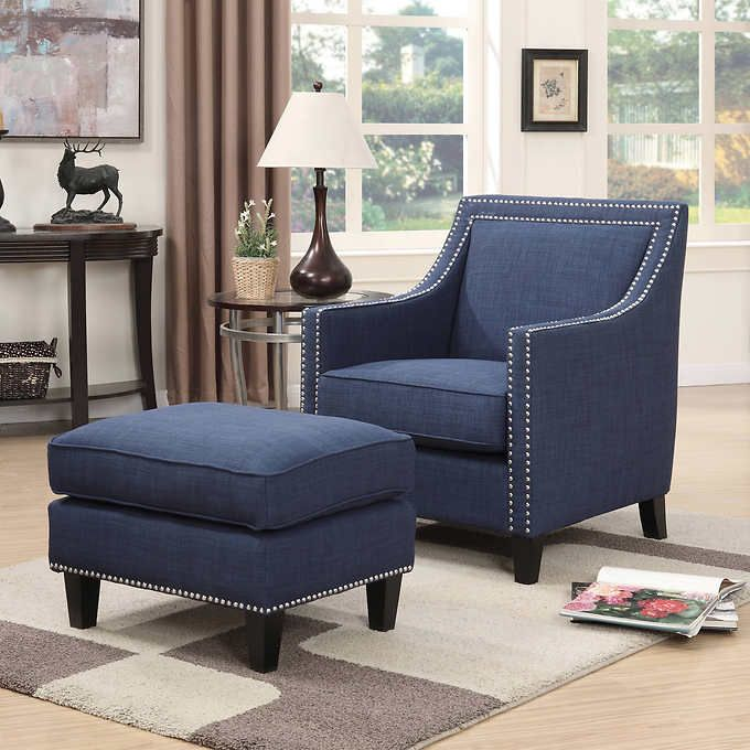 Emery Navy Blue Accent Chair with Ottoman | Accent chairs ...