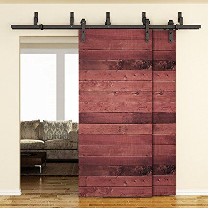 Amazon Com Smartstandard 6 6ft Bypass Double Door Sliding Barn Door Hardware Black J Shape Hangers 2 X 6 6 Foot Rail Barn Doors Sliding Bypass Barn Door