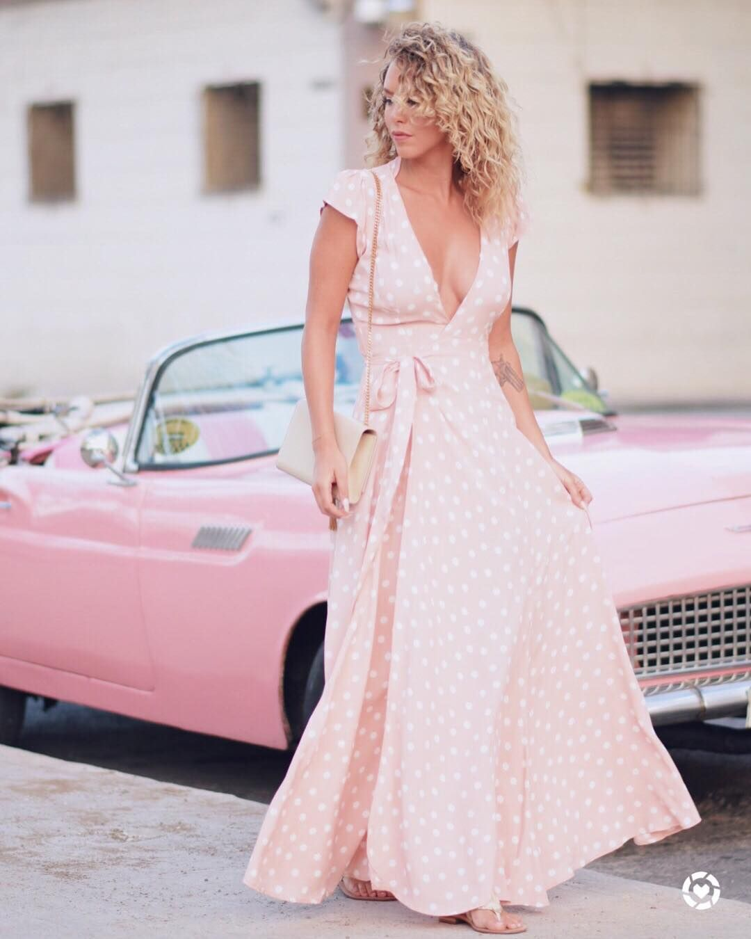 pink polkadot dress and pink convertible car in havana cuba | Kier ...
