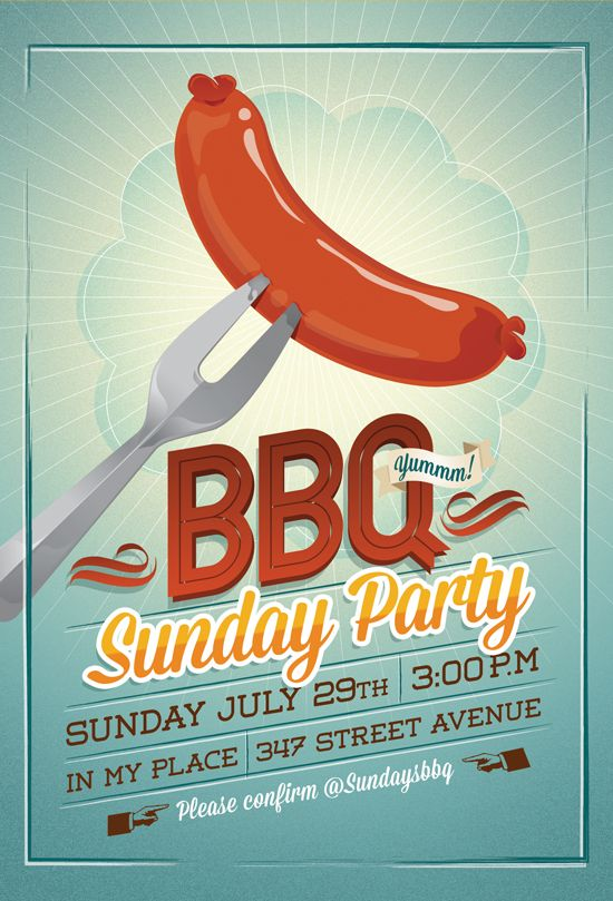 Bbq Party FlyerInvitation Template For Sale   P O S T E R