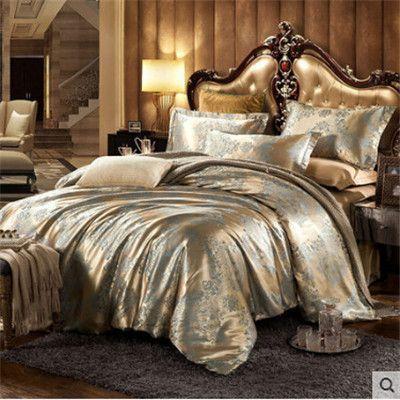 Luxury bedding set Silk 4pcs bedclothes bed linen sets Queen King