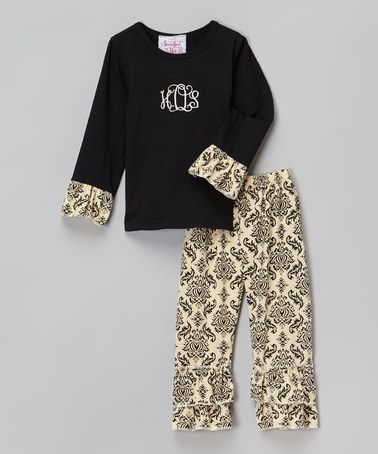 Look what I found on #zulily! Black & Cream Damask Monogram Tee & Ruffle Pants - Infant, Toddler & Girls #zulilyfinds