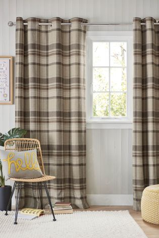 Buy Woven Stirling Check Eyelet Curtains From The Next Uk Online Shop Curtains Curtains With Blinds Lined Curtains