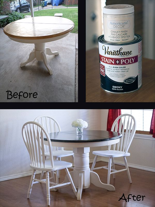 stained table top and chalk painted chairs apply