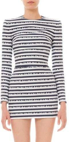 4f89d678 Balmain Long-Sleeve Logo-Striped Mini Dress | A CLOTHES | Dresses ...