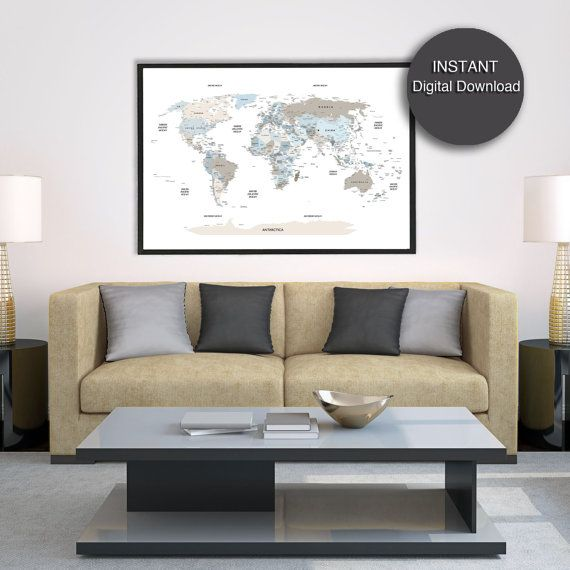 neutral office decor. Detailed World Map Download Blue Beige Printable City Capital Neutral Office Decor 60x40 / O