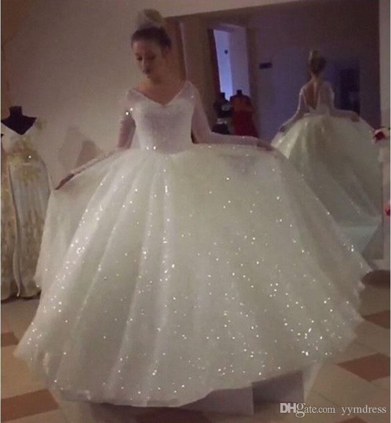 Glitter Wedding Dresses With Long Sleeve 2019 V Neck Puffy Skirt Sparkly Backless Princess Garden C Sparkle Wedding Dress Sparkly Wedding Dress Wedding Dresses