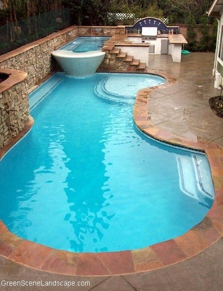 pool, hot tub, outdoor kitchen / Pool'd Sauna'd Jaccuzi'd or Spa'd on backyard spa, outdoor swimming pool with spa, small garden spa,