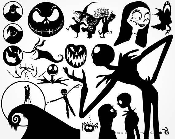 halloween templates halloween design disney silhouette art silhouette vinyl silhouette files - Characters In Nightmare Before Christmas